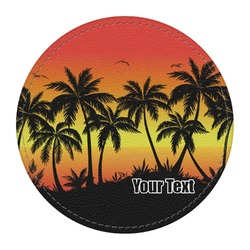 Tropical Sunset Round Desk Weight - Genuine Leather  (Personalized)