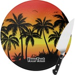 Tropical Sunset Round Glass Cutting Board (Personalized)