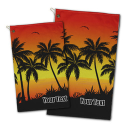 Tropical Sunset Golf Towel - Full Print w/ Name or Text