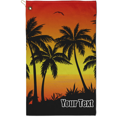 Tropical Sunset Golf Towel - Full Print - Small w/ Name or Text