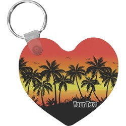 Tropical Sunset Heart Keychain (Personalized)