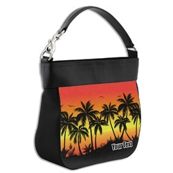 Tropical Sunset Hobo Purse w/ Genuine Leather Trim (Personalized)