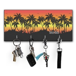 Tropical Sunset Key Hanger w/ 4 Hooks (Personalized)