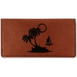 Tropical Sunset Leatherette Checkbook Holder - Double Sided (Personalized)