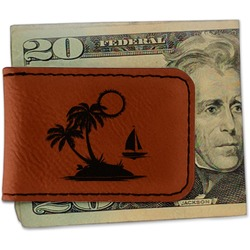 Tropical Sunset Leatherette Magnetic Money Clip (Personalized)