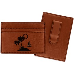 Tropical Sunset Leatherette Wallet with Money Clip (Personalized)