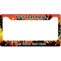 Tropical Sunset License Plate Frame - Style B (Personalized)