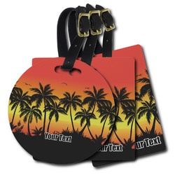 Tropical Sunset Plastic Luggage Tags (Personalized)