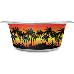 Tropical Sunset Stainless Steel Dog Bowl (Personalized)
