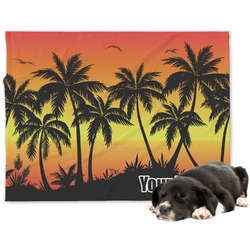 Tropical Sunset Minky Dog Blanket (Personalized)