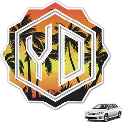 Tropical Sunset Monogram Car Decal (Personalized)