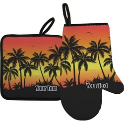 Tropical Sunset Oven Mitt & Pot Holder Set w/ Name or Text