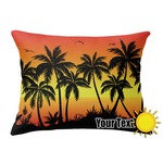 Tropical Sunset Outdoor Throw Pillow (Rectangular) (Personalized)