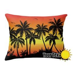 Tropical Sunset Outdoor Throw Pillow (Rectangular) (Personalized)