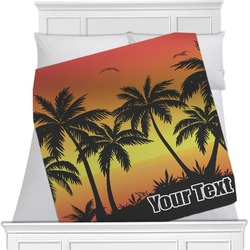 "Tropical Sunset Fleece Blanket - Twin / Full - 80""x60"" - Single Sided (Personalized)"