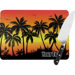 Tropical Sunset Rectangular Glass Cutting Board (Personalized)
