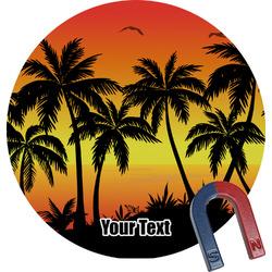 Tropical Sunset Round Fridge Magnet (Personalized)