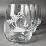 Tropical Sunset Stemless Wine Glasses (Set of 4) (Personalized)
