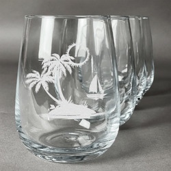 Tropical Sunset Wine Glasses (Stemless Set of 4) (Personalized)