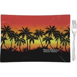 Tropical Sunset Glass Rectangular Appetizer / Dessert Plate - Single or Set (Personalized)
