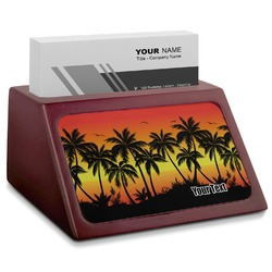 Tropical Sunset Red Mahogany Business Card Holder (Personalized)