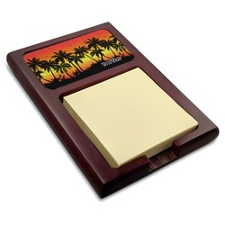 Tropical Sunset Red Mahogany Sticky Note Holder (Personalized)