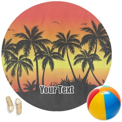 Tropical Sunset Round Beach Towel (Personalized)