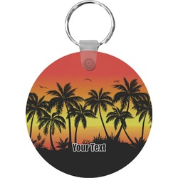 Tropical Sunset Round Keychain (Personalized)
