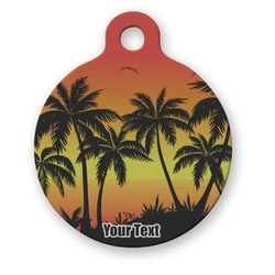 Tropical Sunset Round Pet Tag (Personalized)