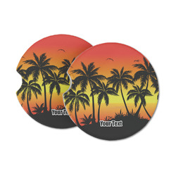 Tropical Sunset Sandstone Car Coasters (Personalized)