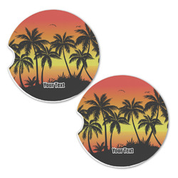 Tropical Sunset Sandstone Car Coasters - Set of 2 (Personalized)