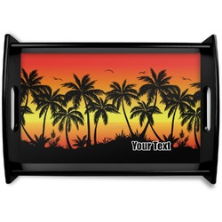 Tropical Sunset Black Wooden Tray (Personalized)