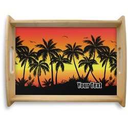 Tropical Sunset Natural Wooden Tray - Large (Personalized)