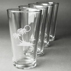 Tropical Sunset Beer Glasses (Set of 4) (Personalized)
