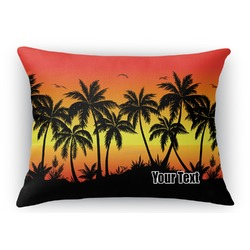 Tropical Sunset Rectangular Throw Pillow Case (Personalized)