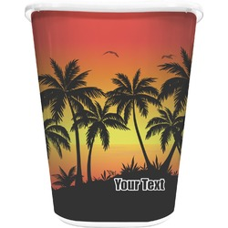 Tropical Sunset Waste Basket - Double Sided (White) (Personalized)