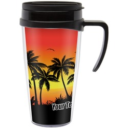 Tropical Sunset Travel Mug with Handle (Personalized)