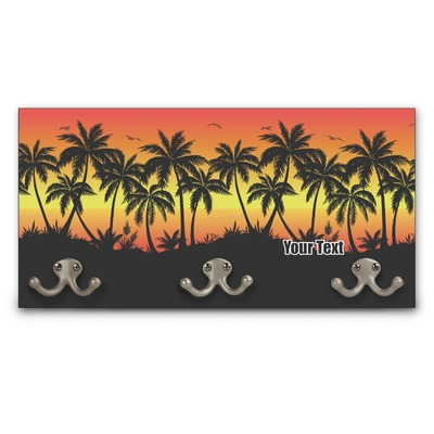 Tropical Sunset Wall Mounted Coat Rack (Personalized)