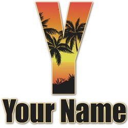 Tropical Sunset Name & Initial Decal - Custom Sized (Personalized)
