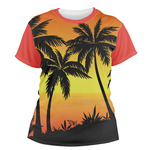 Tropical Sunset Women's Crew T-Shirt (Personalized)