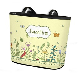Nature Inspired Bucket Tote w/ Genuine Leather Trim (Personalized)