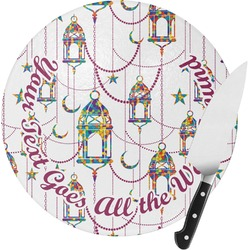 Moroccan Lanterns Round Glass Cutting Board (Personalized)