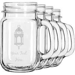 Moroccan Lanterns Mason Jar Mugs (Set of 4) (Personalized)