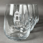Moroccan Lanterns Stemless Wine Glasses (Set of 4) (Personalized)