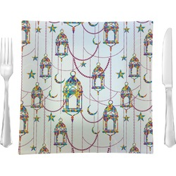 """Moroccan Lanterns 9.5"""" Glass Square Lunch / Dinner Plate- Single or Set of 4 (Personalized)"""