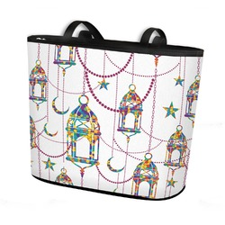 Moroccan Lanterns Bucket Tote w/ Genuine Leather Trim (Personalized)