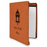 Moroccan Lanterns Leatherette Zipper Portfolio with Notepad (Personalized)