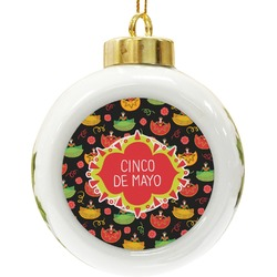 Cinco De Mayo Ceramic Ball Ornament (Personalized)