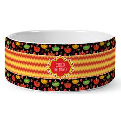 Cinco De Mayo Ceramic Dog Bowl (Personalized)