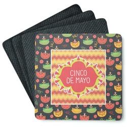 Cinco De Mayo 4 Square Coasters - Rubber Backed (Personalized)